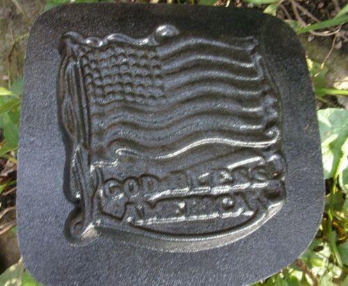 "Flag God Bless America mold plaster cement concrete plastic mould 6/"" x 6/"" x 1//2/"""