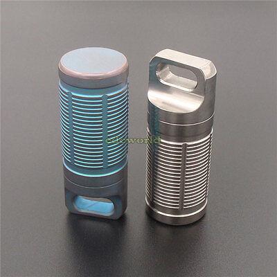 Outdoor EDC Titanium CNC Torpedo Type Waterproof Pill Case Key Chain Container