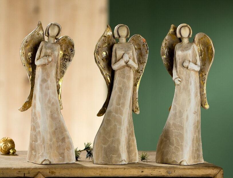 Gilde Engel im Holzlook mit Goldflügel 3er Set Figur Weihnachten - 20575L