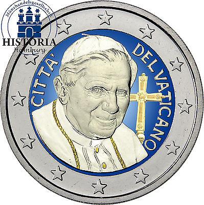 Vatikan 2 Euro Gedenkmünze 2013 bfr. Emeritierter Papst Benedikt XVI. in Farbe