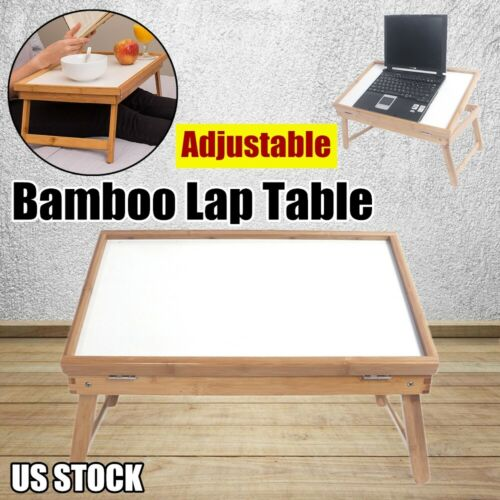 Folding Portable Lap Desk Bamboo Laptop Tray Natural Bed Sofa Table Stand US