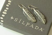 Silpada Etched Sterling Silver Feather Indian Earrings W3499