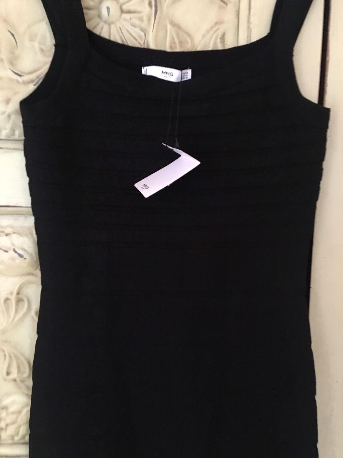 Schwarz Mng Suit Mangos Bodycon Kleid USA 6 Uk6 Unterteilt DoppelrieMänner Neu Mini