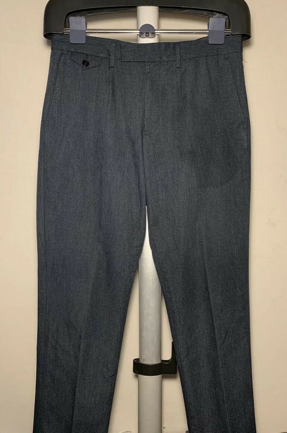 Men's Rare Designer Wallace & Barnes bluee Solid Casual Slim Fit Pants, 32 X 30