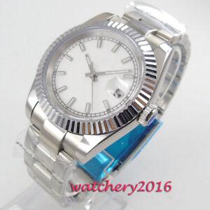 40mm-BLIGER-White-dial-Saphirglas-Solid-Date-Automatisch-movement-Uhr-mens-Watch