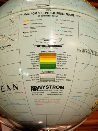 """Nystrom 3D Sculptural Raised Relief Globe 12/"""" 1996 Commercial School Classroom"""