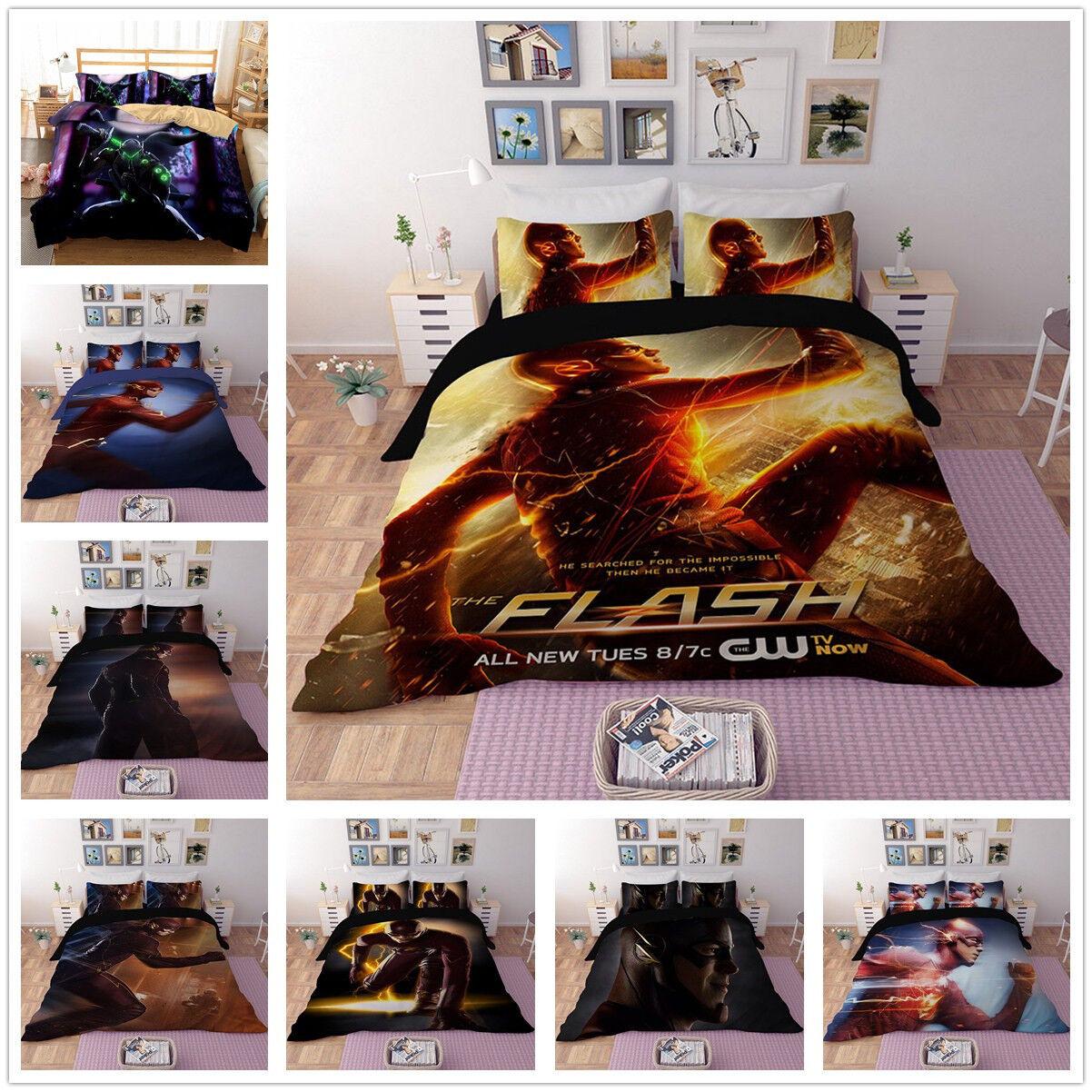 3D The Flash Man Duvet Cover Kids Bedding Set Anime Hero Quilt Cover Pillowcase