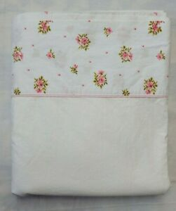 Vintage Springmaid Pink Floral Trim Full Flat Sheet Springcale Percale 79x92