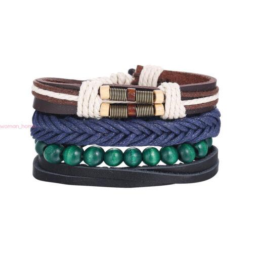 Hommes Femmes Handmade multicouche Bracelet Simili Cuir Tressé Bangle Bracelet Set Cadeau