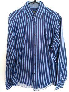 Bugatchi-Uomo-Mens-Size-Large-Blue-Striped-Long-Sleeve-Button-Up-Shirt