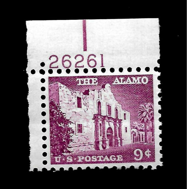US 1954 Sc# 1043 9 c The Alamo  Mint NH Plate # - Vivid Color