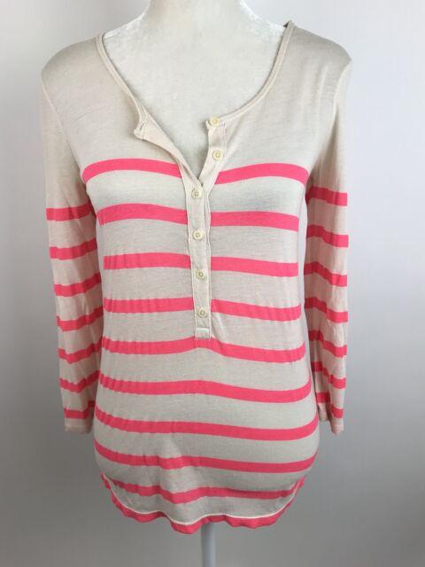 J.Crew Women's XXS Featherknit Henley Top Beige Pink Striped 3/4 Sleeve Thin