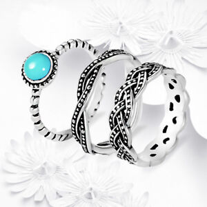 Simple Fashion Filled Silver Turquoise Wedding Engagement Ring Set ...