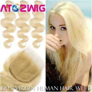 Weft-100-Remy-Human-Hair-3-Bundles-With-Closure-Extensions-613-Blonde-Wavy