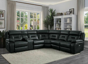 Details about Modern Sofa Sectional Dark Gray Faux Leather Power Reclining  Living Room Set F6S