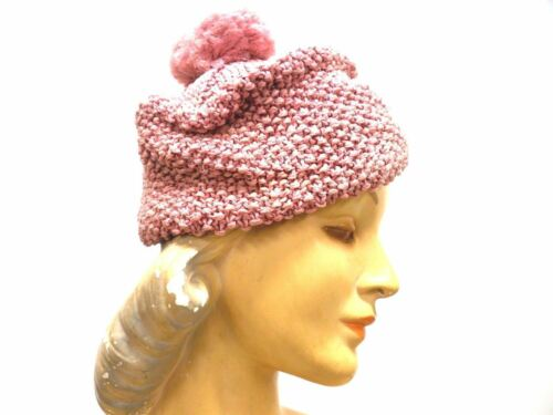 VTG Knit Hat Dusty Rose Pink Metallic Hand-Knit 19