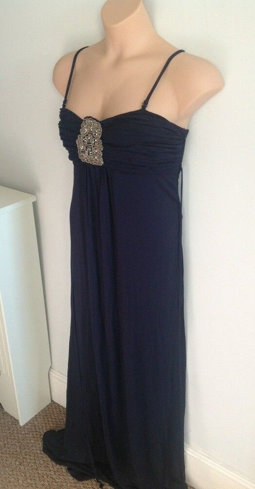Monsoon Size 18 Navy bluee Maxi Jersey Dress Removable Straps Bead Gem Detail 38