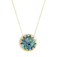 House of Harlow 1960 14KT Y/G Plated Abalon Shell Sunburst Pendant Necklace NEW