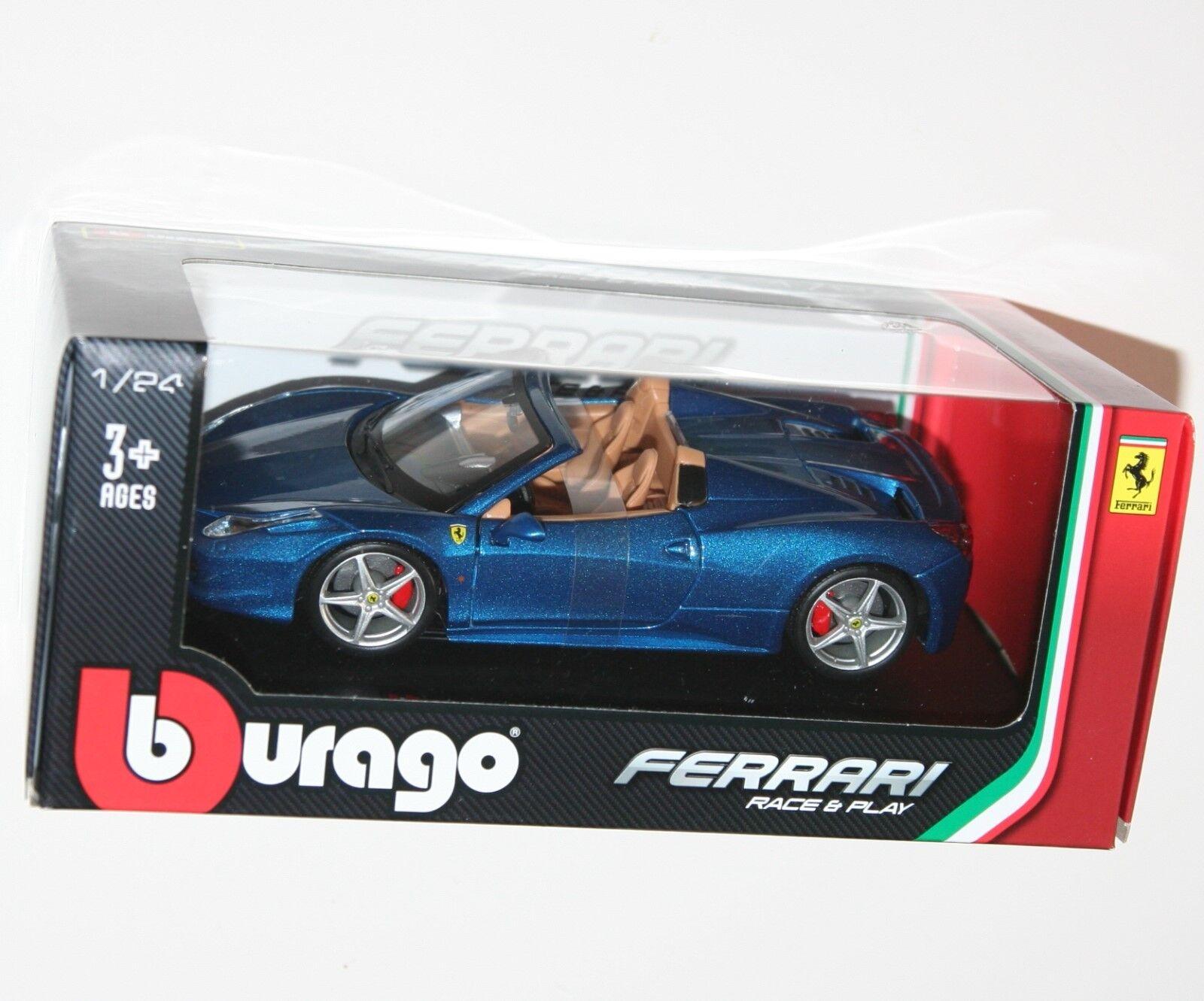 Burago - FERRARI 458 SPIDER (bluee) - Die Cast Model - Scale 1 24