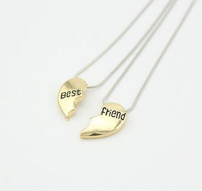 Two Parts Love Heart Best Friend Friendship BFF Couple Necklace Set