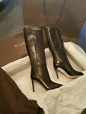 £998 NEW Authentic Gucci Black Leather Knee High Stiletto Boot Bag Box 36.5 3.5