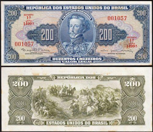 BRAZIL 200 CRUZEIROS 1964 UNC P.171c WITH HUMIDITY-ESTAMPA 1A LOW SERIAL 0010XX