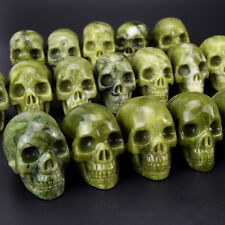 1 pic 2 Inch Natural Green Jade Crystal Skull For Crystal healing Home Deocor