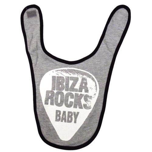 Oficial Ibiza rocas Babero de bebé nuevo logotipo Plectrum Gris Heather contraste Chicos Chicas