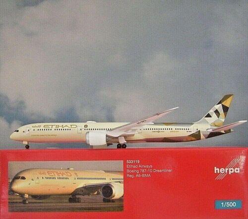 Herpa Wings1:500  Boeing 787-10  Etihad Airways A6-BMA  533119 Modellairport500