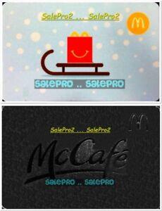 2x-McDONALD-CELEBRATE-McCAFE-ICE-SKATING-HOCKEY-SLED-COLLECTIBLE-GIFT-CARD-LOT