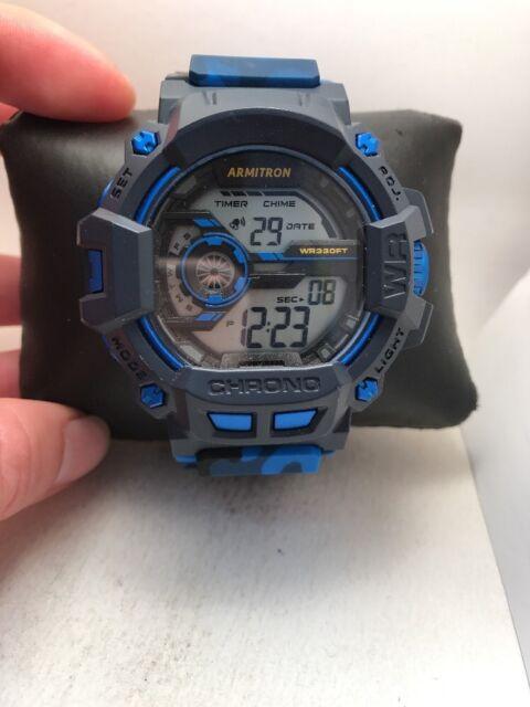 Armitron Men's Blue Camo Resin Watch, 100 Meter WR, Chronograph, 40/8353CBL-H53