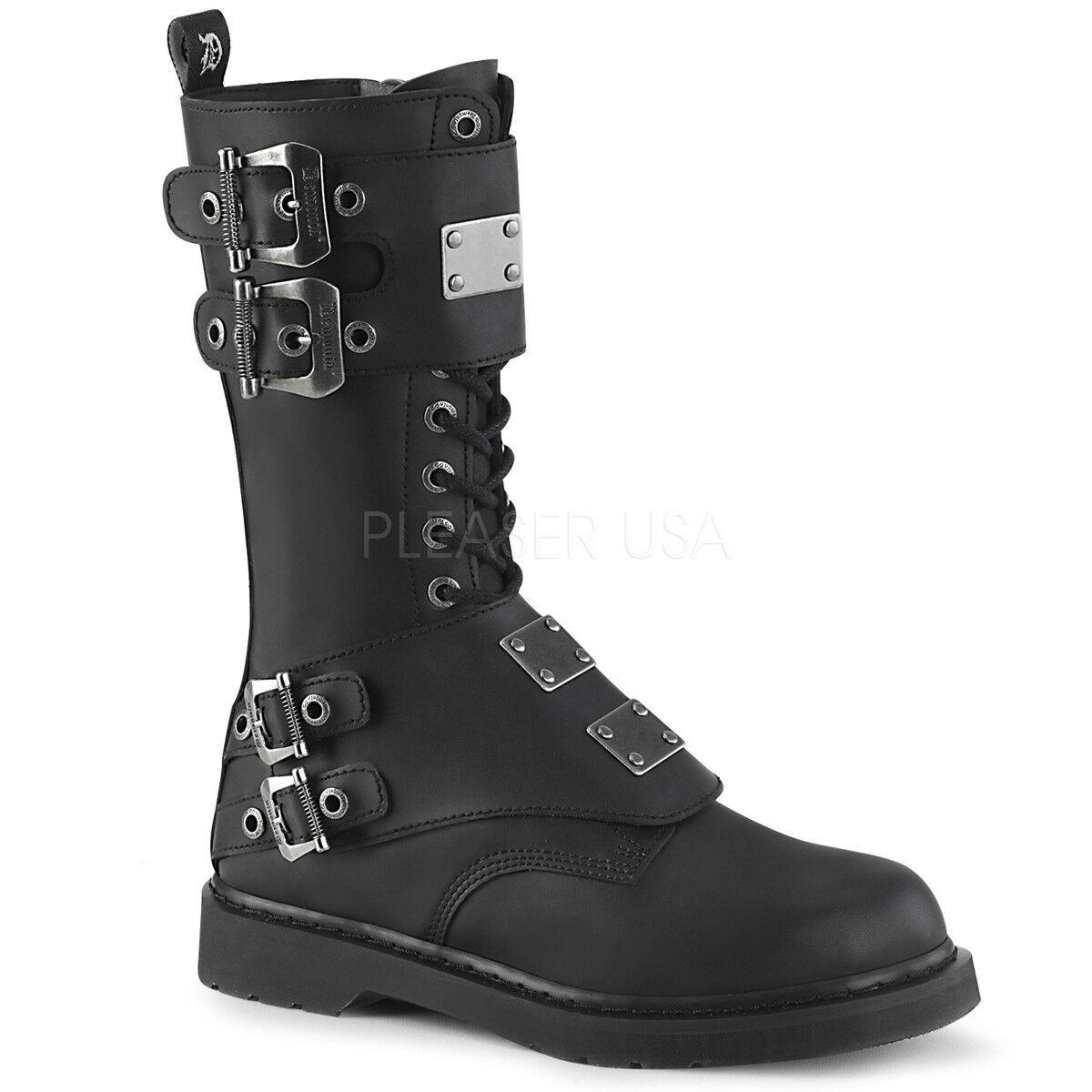 DEMONIA Mens Punk Combat 1 1 4  Heel 14 Eyelet Steel Plate Panels Mid Calf Boots