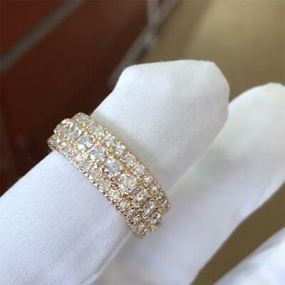 5ct Round Cut Diamond Ice Wedding Ring Band 18k White Gold Finish Full Eternity