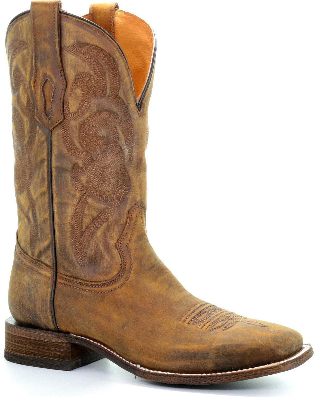 Corral Men's Golden Embroidery Cowboy Boot - Square Toe - A3302