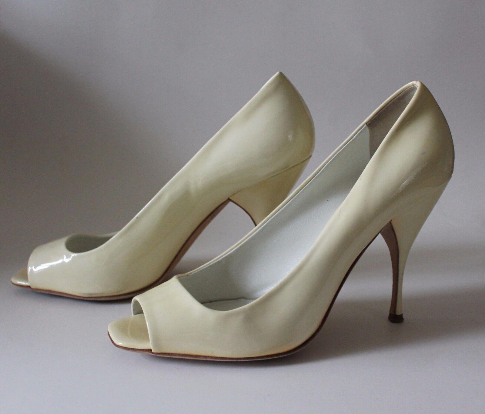 Miu Miu by Prada Gelb Patent Leather Open Toe Pumps Heels Sz 39.5 Orig  595