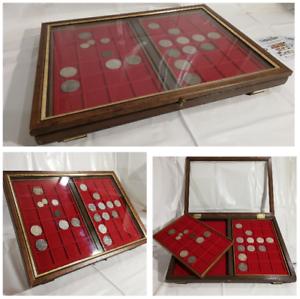 Teca-LUSSO-2-Vassoi-in-legno-per-monete-vetrinetta-per-collezionismo-Noce