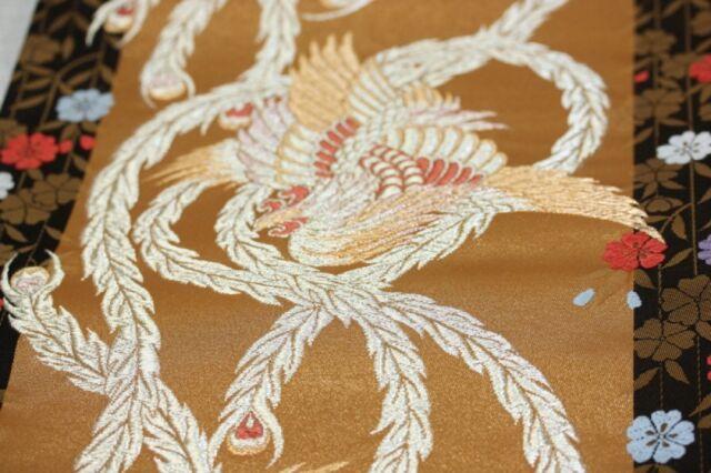 Japanese Gorgeous Beautiful silk  fukuro-obi Chinese phoenix