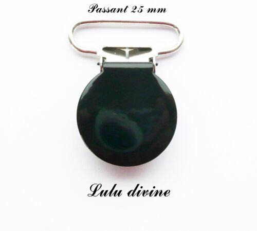 Pince ronde passant de 25 mm : Noir Attache tétine doudou Clip rond