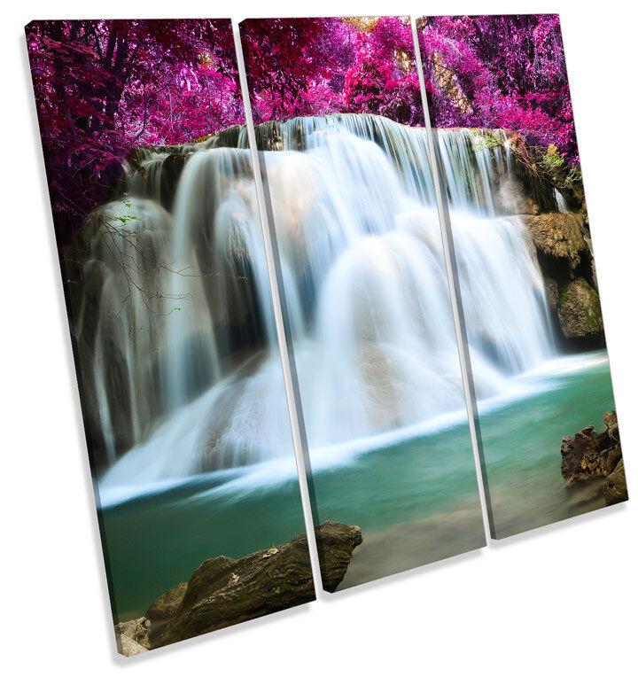 Forest Waterfall Floral Landscape TREBLE CANVAS Wand Kunst Square Bild Drucken