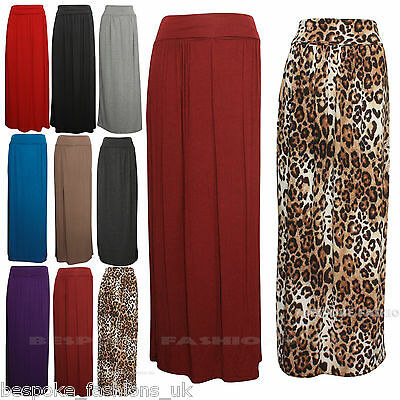 Ehrlich New Womens Celeb Fold Over Waist Full Length Jersey Ladies Maxi Skirt Plus 8-22