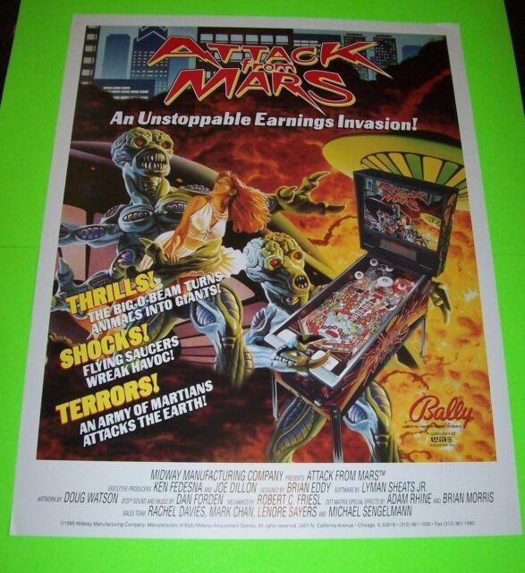 Bally ATTACK FROM MARS 1995 Original Pinball Machine 28 X 21 Promo POSTER Aliens