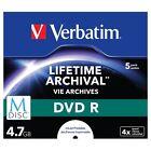 Verbatim M-disc DVD R 4.7 GB 4x Printable JEWEL Case PK 5 43821