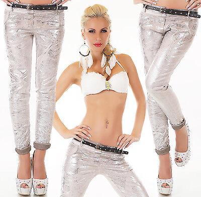 MADE IN ITALY Jeans  metallic silber beige grau Gr. S M L XL