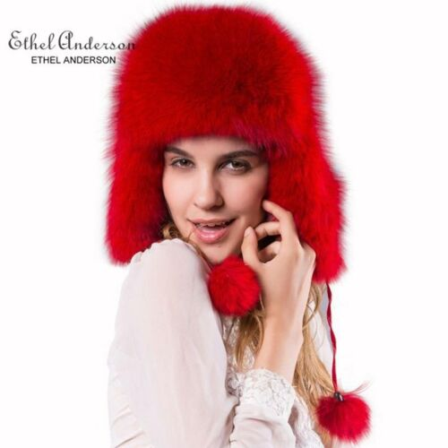 ETHEL ANDERSON 100/% Real Vulpes Lagopus Fox Fur Hats Cap Headwear Women/'s