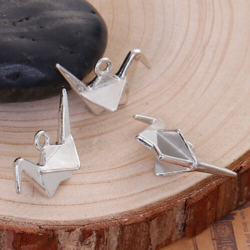 10 Silver ORIGAMI CRANE Charms 27x20mm chs2708