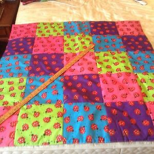Handmade Baby Quilt Lady Bug (new) Hand Tied Bright Colors