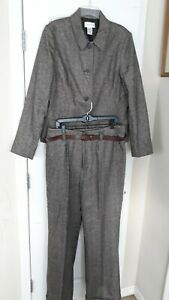 Chadwicks-Women-039-s-Pants-Suit-Long-Sleeves-Jacket-4-Buttons-Brown-Wool-Size-16T