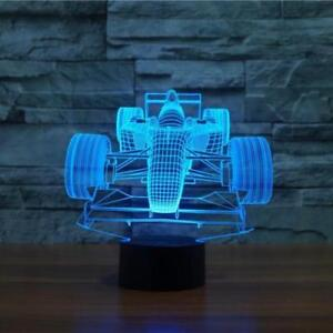 Details about 1 Car Race Table LED Lamp 3D Illusion Night Light For Kids  Room 7 Color Formula