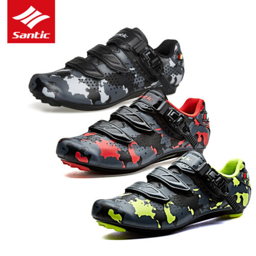 Santic Men Road Bike Cycling Bicycle Camouflage Shoes Self-locking Riding Shoes