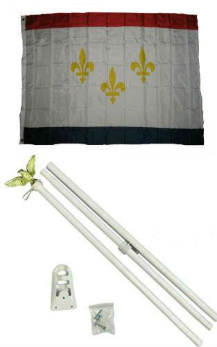 3x5 City of New Orleans Louisiana Flag White Pole Kit Set 3/'x5/'